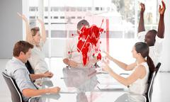 Cheerful business workers using red map diagram interface - stock photo