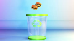 Cheeseburgers falling in a Garbage Bin, Dieting Concept, Alpha Stock Footage