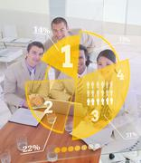 Stock Photo of Overview of colleagues using yellow pie chart interface