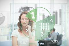 Blonde businesswoman using green pie chart interface - stock photo