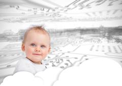 Portrait of a cute baby over clouds Stock Photos