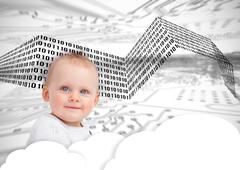 Portrait of a cute baby over clouds and binary codes - stock photo