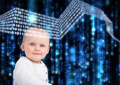 Portrait of baby with matrix background - stock photo