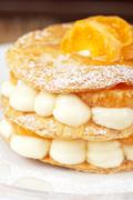 Millefeuille with tangerine Stock Photos
