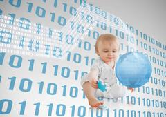 Blue binary codes floating around a baby with a blue planet - stock photo