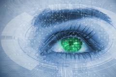 Close up of woman eye over futuristic interface Stock Photos