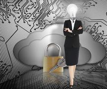 Businesswoman with lightbulb head and padlock - stock photo