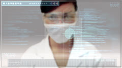Laboratory worker scrolling through medical digital interface Stock Footage
