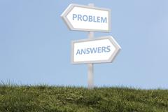 Sign posts spelling out problem and answers Stock Photos