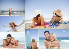 Montage with different portrait of families - stock photo