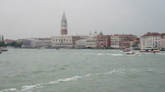 Arriving at overcast venice from ship Stock Footage