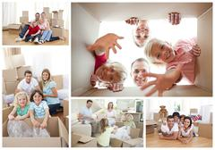 Collage of families - stock photo