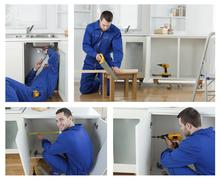 Collage of carpenter working Stock Photos