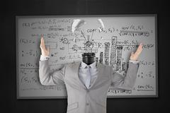 Businessman stressing with light bulb head breaking Stock Photos