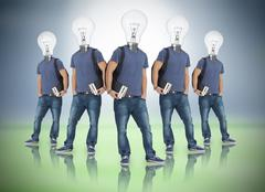 Multiple image of student with light bulb head - stock photo