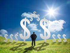 Businessman standing in a field with dollar signs - stock photo