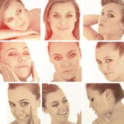 Collage of blonde woman in sepia glow Stock Photos