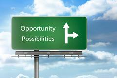 Stock Photo of Opportunity and possibilities written over a signpost