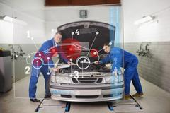 Smiling mechanics consulting futuristic interface Stock Photos