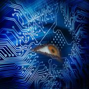 Brown eye looking up in blue circuit board Stock Photos
