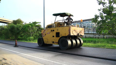 Steamroller, Construction road - stock footage
