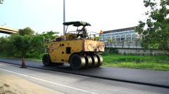 Steamroller, Construction road Stock Footage
