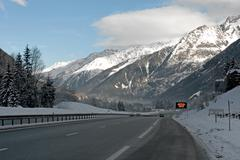 alpine motorway - stock photo
