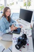 Photo editor working with graphics tablet Stock Photos
