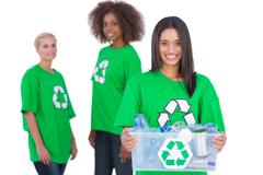 Female activist holding recycling box Stock Photos