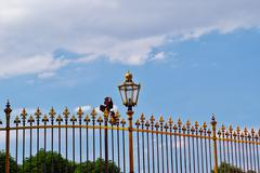 Gold metal fence of parks of Austria Stock Photos