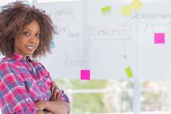 Happy woman with arms crossed in front of whiteboard Stock Photos