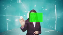 Businesswoman scrolling through interface with chroma key - stock footage