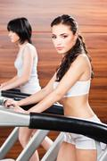 women in gym center - stock photo
