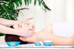 face massage - stock photo