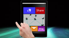 Social media and communication montage on digital tablet Stock Footage