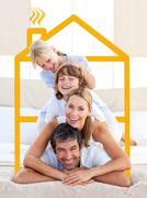 Family having fun doing a giant piggyback Stock Photos