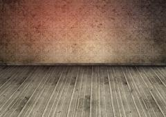 Outmoded wallpaper in an empty room - stock photo