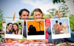 Serial instant photos of holiday scenes hung with a peg Stock Photos