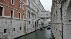 Famous Ponte dei Sospiri in Venice Stock Footage