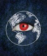 Red eye over blue texture surrounded by a drawing of the earth Stock Photos