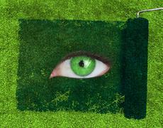 Paint roller revealing a green eye - stock photo