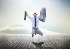 Stressed businessman jumping over wooden boards Stock Photos
