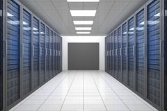 Empty hallway of tower servers - stock illustration