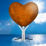 White human representation holding a big brown heart - stock illustration