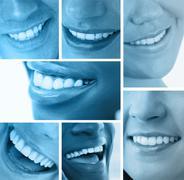 Collage of white smiles in blue tint Stock Photos