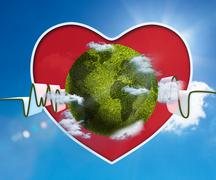 Green and white waveform with green earth and red heart - stock photo