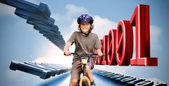 Little boy on a bike with binary code Stock Photos