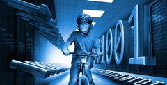 Child on bike in data center with binary code in blue - stock photo