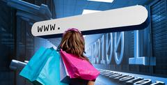 Girl with shopping bags looking at address bar Stock Photos