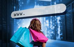 Girl holding shopping bags looking at address bar Stock Photos